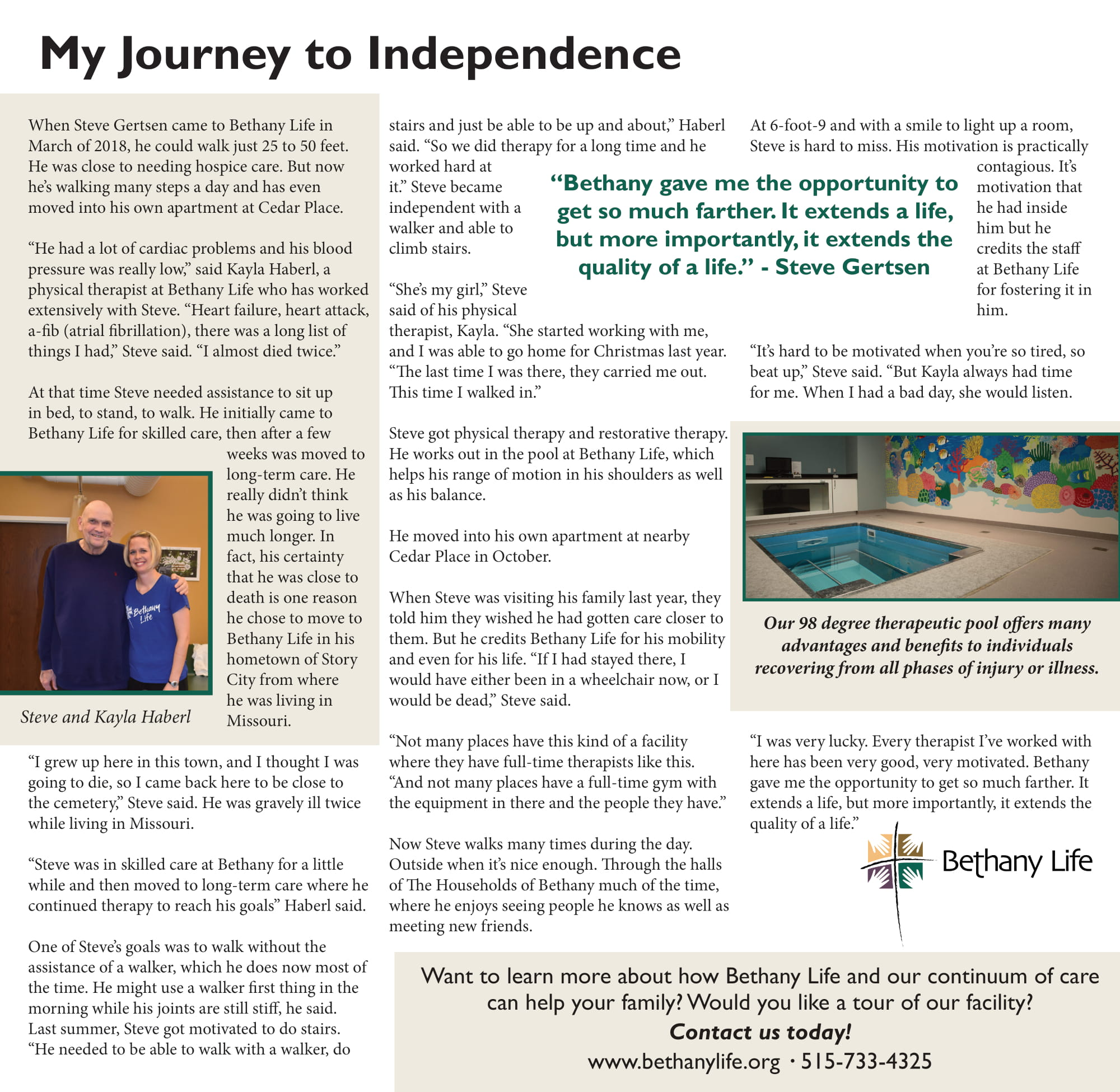 My Journey to Independence - Steve Gertsen Story about Bethany Life