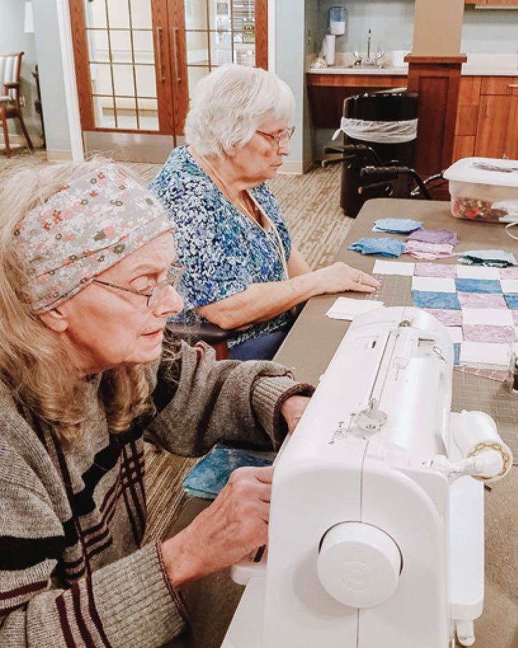 Respite Care - Residents sewing