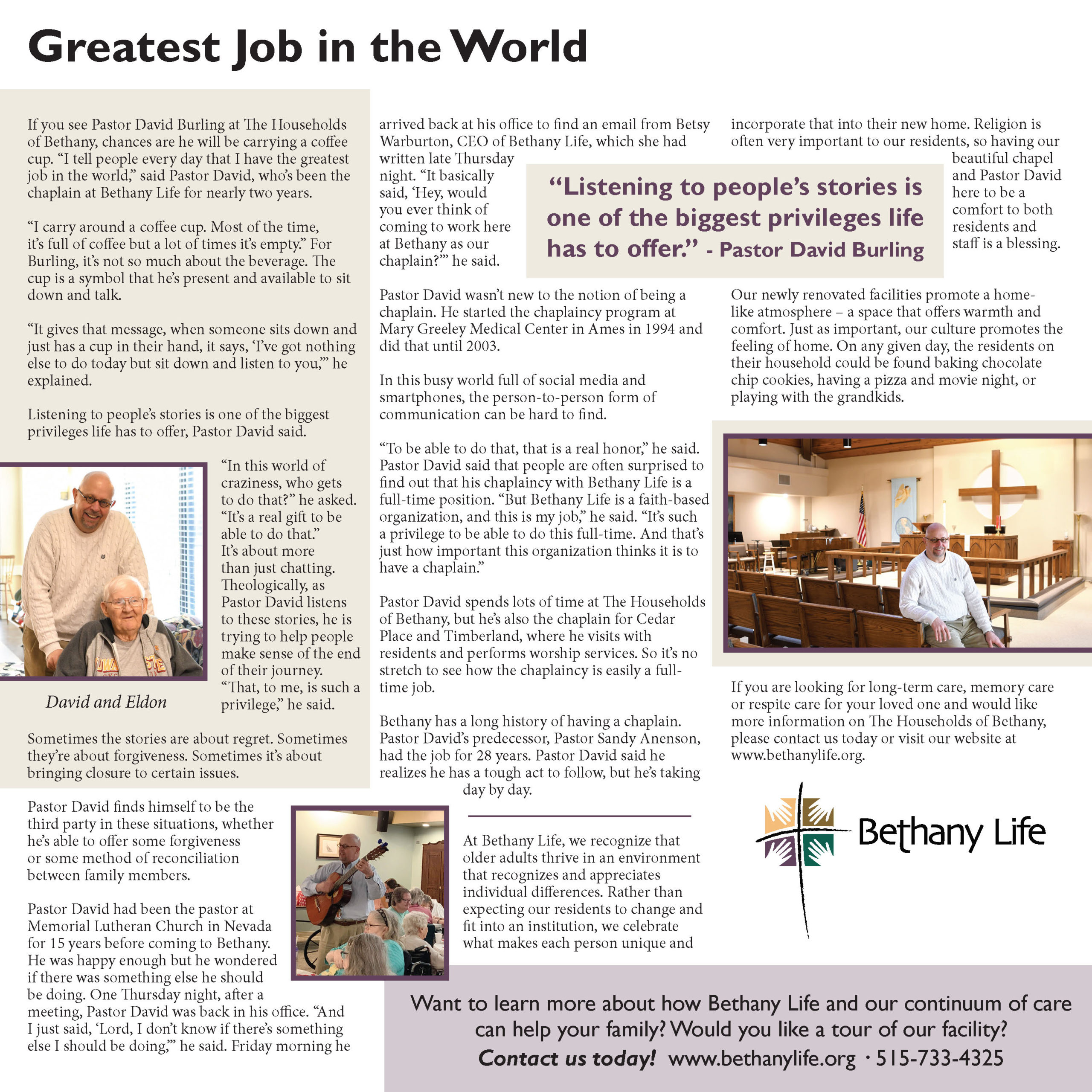 Pastor Dave's Story: Greatest Job in the World (Newsletter Image)