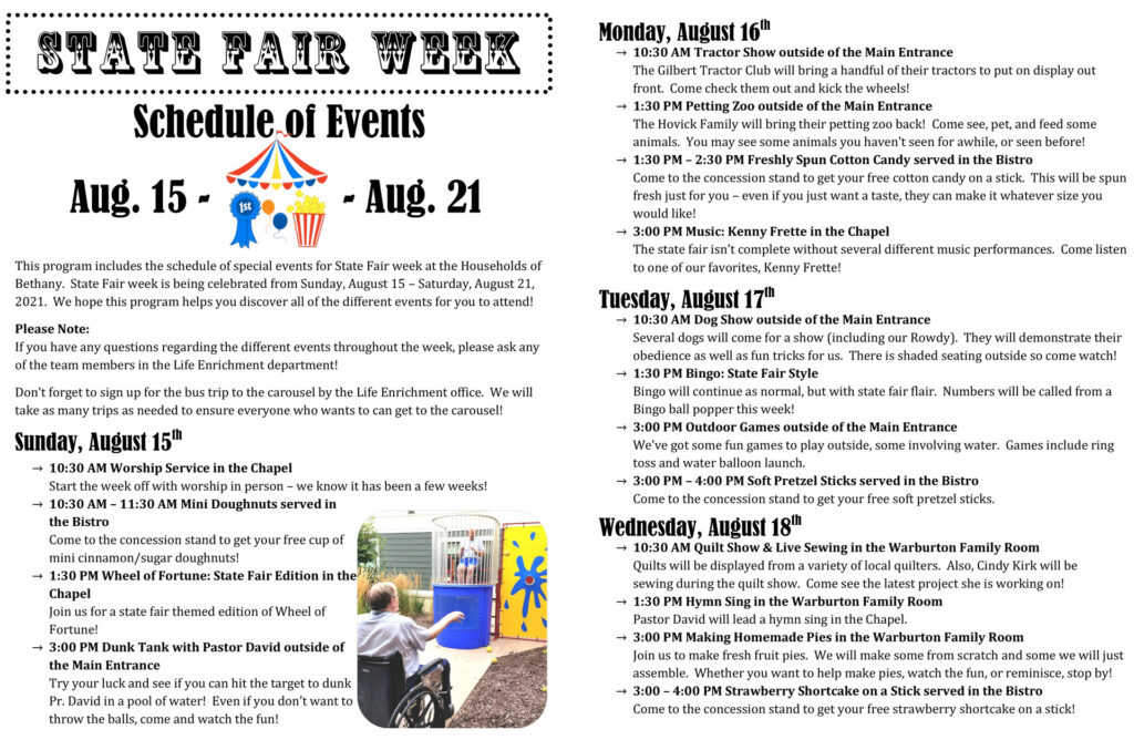 Bethany Life State Fair Week: August 15th - 21st