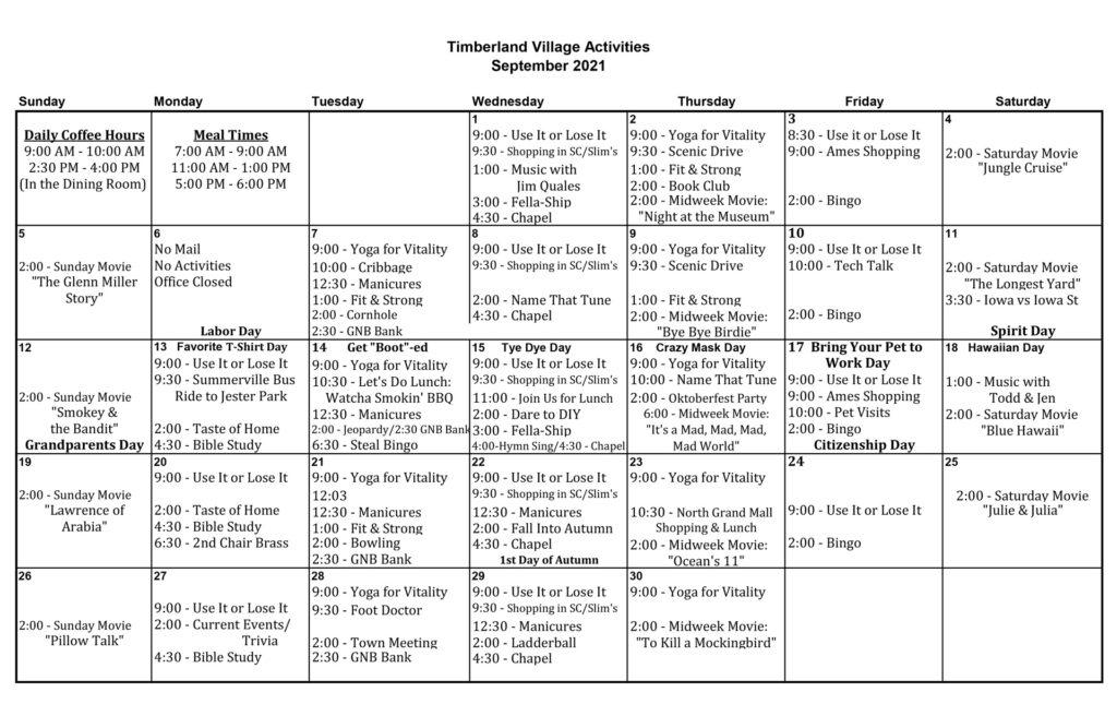 Timberland Village Activities for September 2021