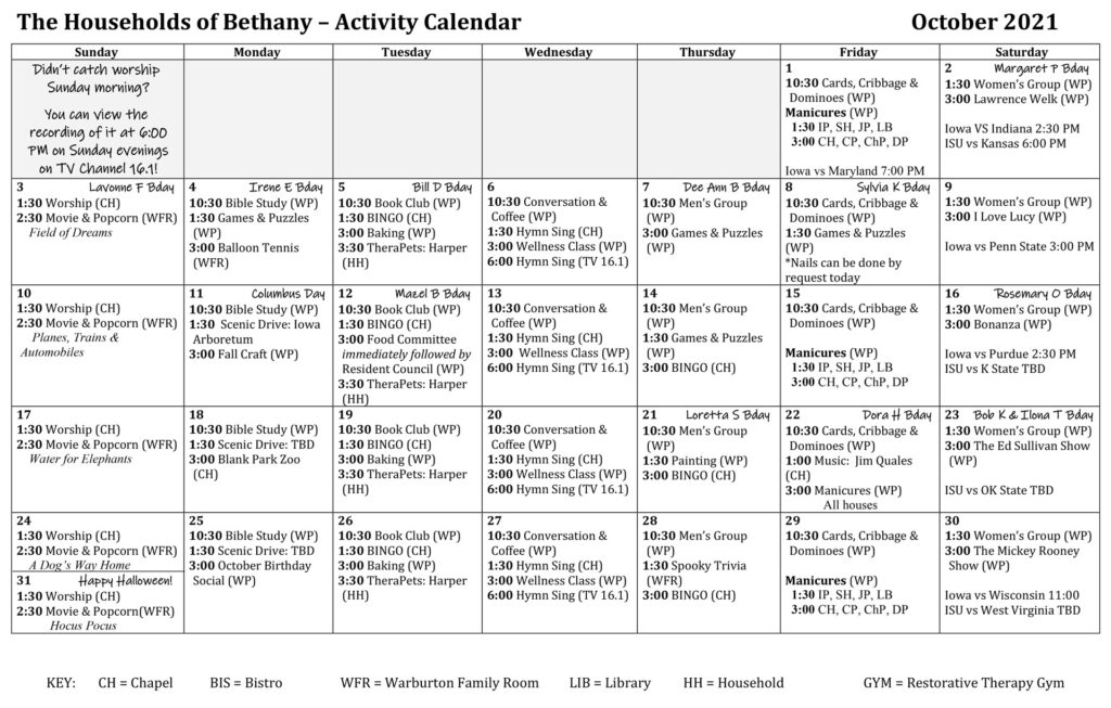 The Households of Bethany - Activity Calendar - October 2021